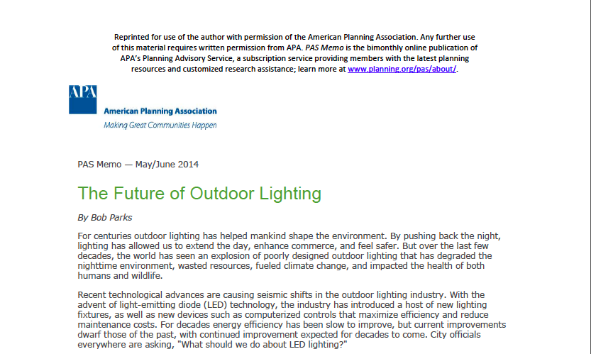 """The Future of Outdoor Lighting"" for the APA"